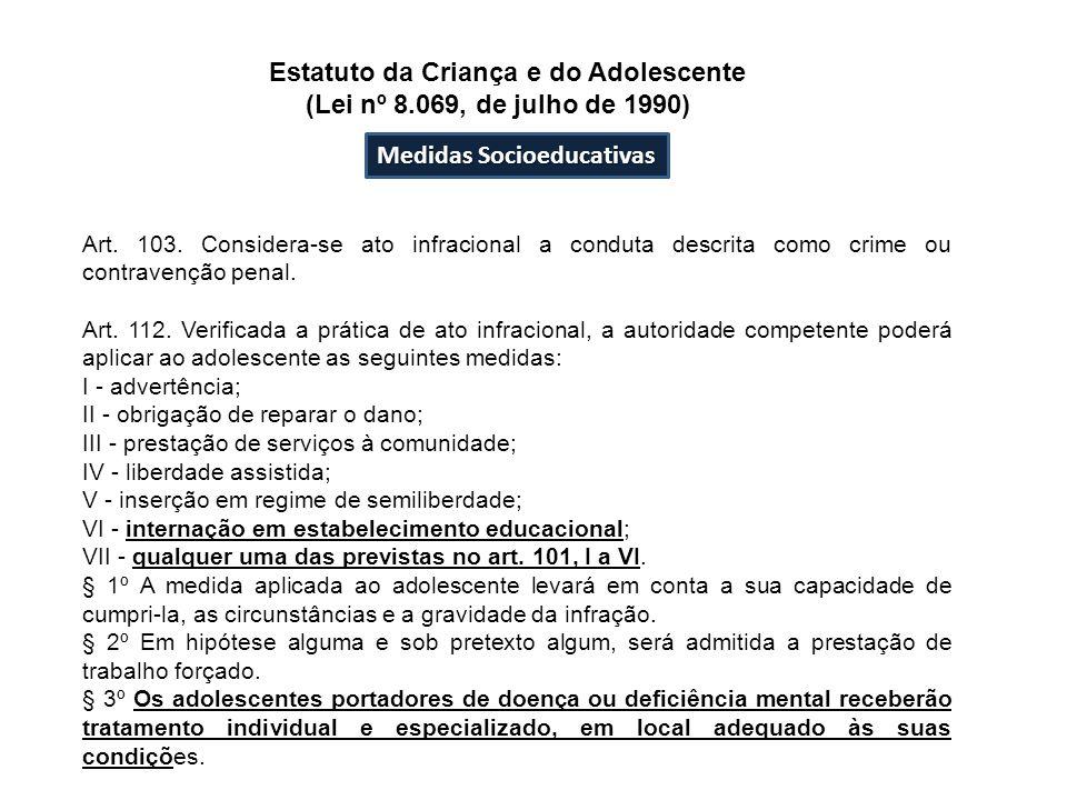 Medidas Socioeducativas Estatuto da Criança e do Adolescente (Lei nº 8.069, de julho de 1990) Art. 103. Considera-se ato infracional a conduta descrit