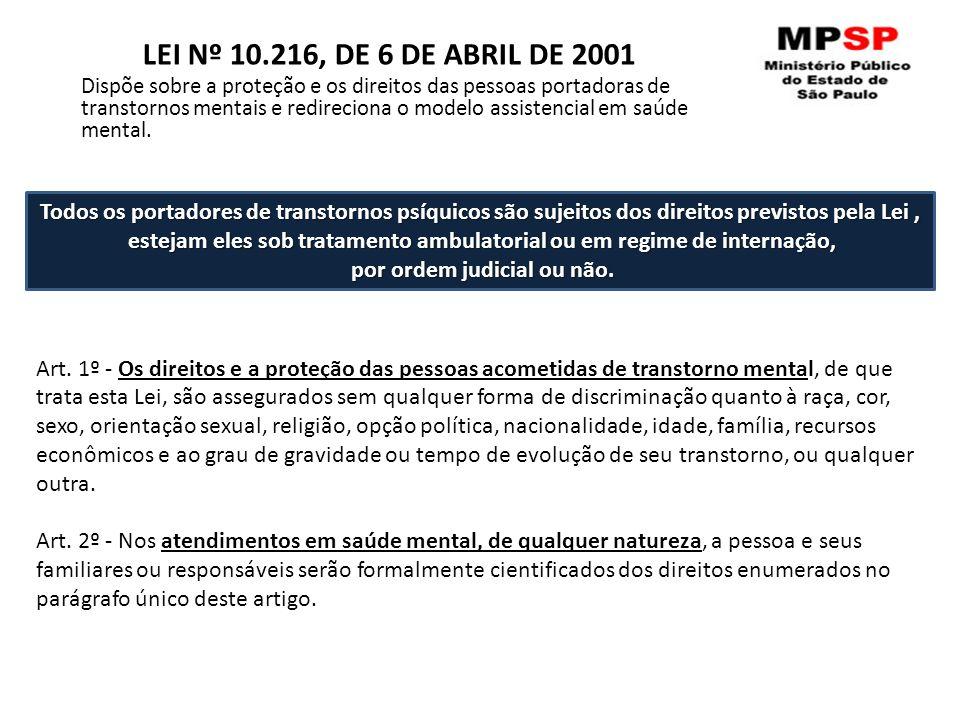Art. 1º - Os direitos e a proteção das pessoas acometidas de transtorno mental, de que trata esta Lei, são assegurados sem qualquer forma de discrimin