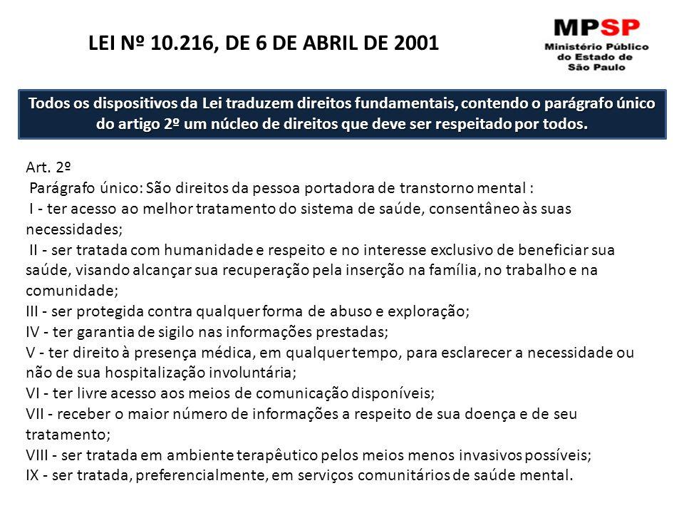 Art. 2º Parágrafo único: São direitos da pessoa portadora de transtorno mental : I - ter acesso ao melhor tratamento do sistema de saúde, consentâneo