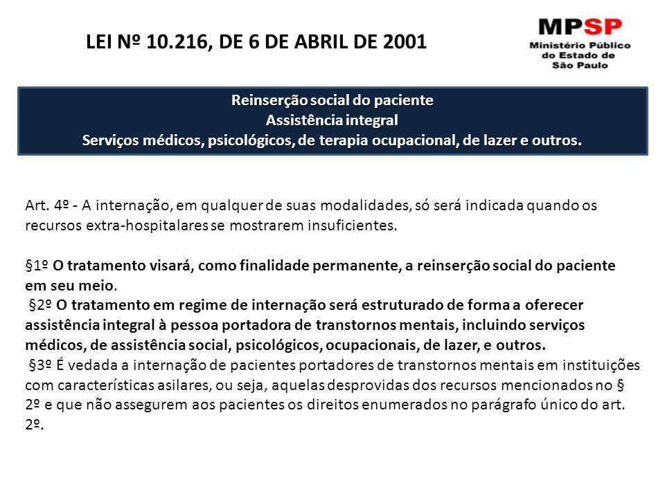 Art. 4º - A internação, em qualquer de suas modalidades, só será indicada quando os recursos extra-hospitalares se mostrarem insuficientes. §1º O trat