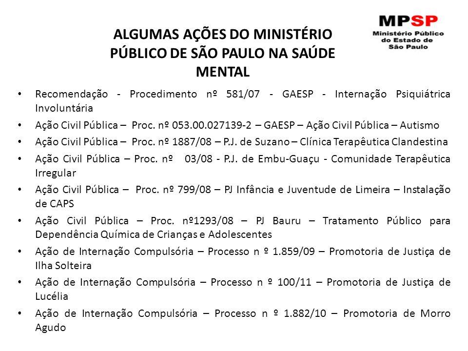 ALGUMAS AÇÕES DO MINISTÉRIO PÚBLICO DE SÃO PAULO NA SAÚDE MENTAL Recomendação - Procedimento nº 581/07 - GAESP - Internação Psiquiátrica Involuntária Ação Civil Pública – Proc.
