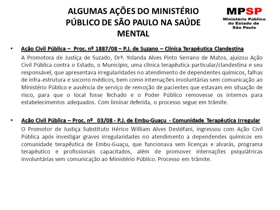 ALGUMAS AÇÕES DO MINISTÉRIO PÚBLICO DE SÃO PAULO NA SAÚDE MENTAL Ação Civil Pública – Proc. nº 1887/08 – P.J. de Suzano – Clínica Terapêutica Clandest