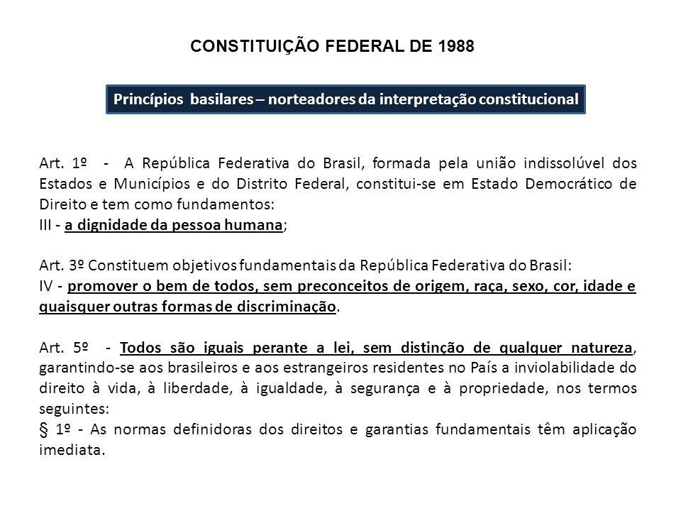 Princípios basilares – norteadores da interpretação constitucional Art. 1º - A República Federativa do Brasil, formada pela união indissolúvel dos Est