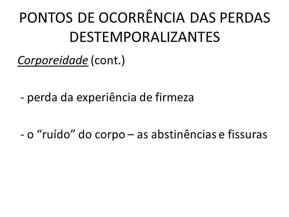 Corporeidade (cont.) - perda da experiência de firmeza - o ruído do corpo – as abstinências e fissuras