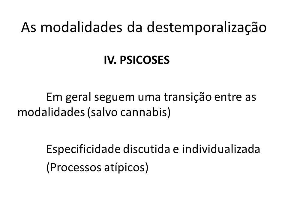 As modalidades da destemporalização IV. PSICOSES Em geral seguem uma transição entre as modalidades (salvo cannabis) Especificidade discutida e indivi
