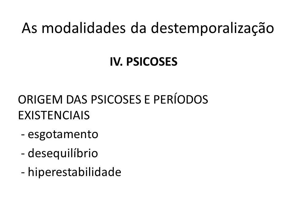 As modalidades da destemporalização IV. PSICOSES ORIGEM DAS PSICOSES E PERÍODOS EXISTENCIAIS - esgotamento - desequilíbrio - hiperestabilidade