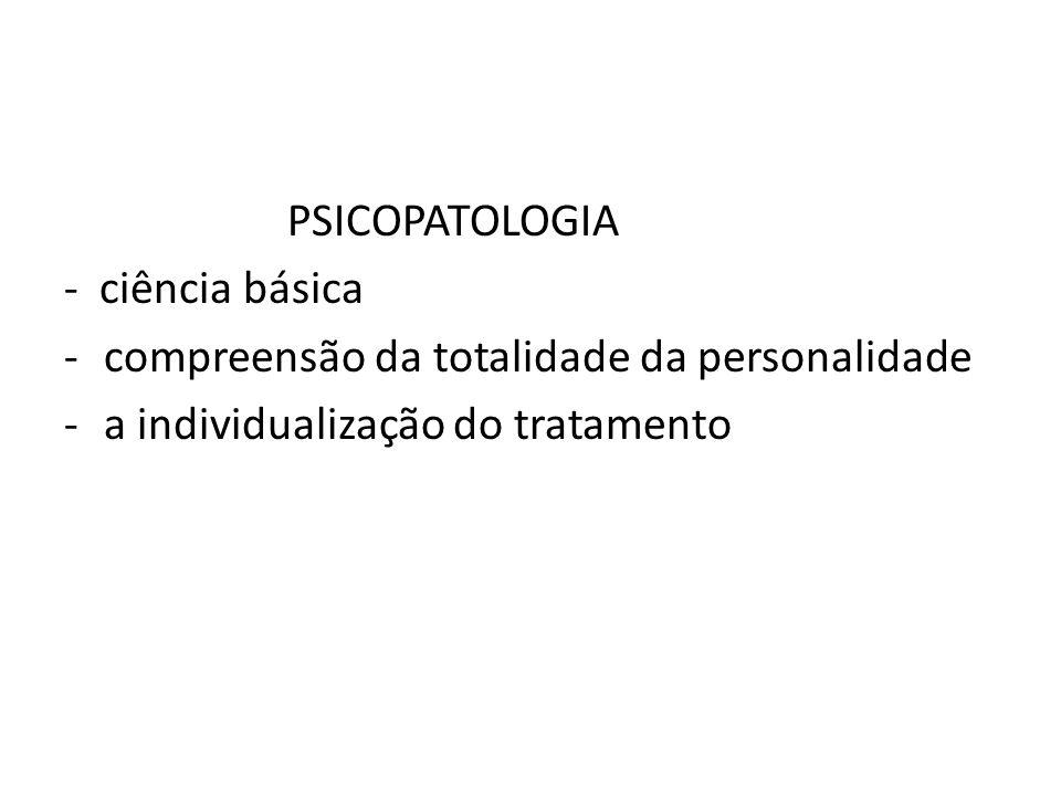 PSICOPATOLOGIA - ciência básica -compreensão da totalidade da personalidade -a individualização do tratamento