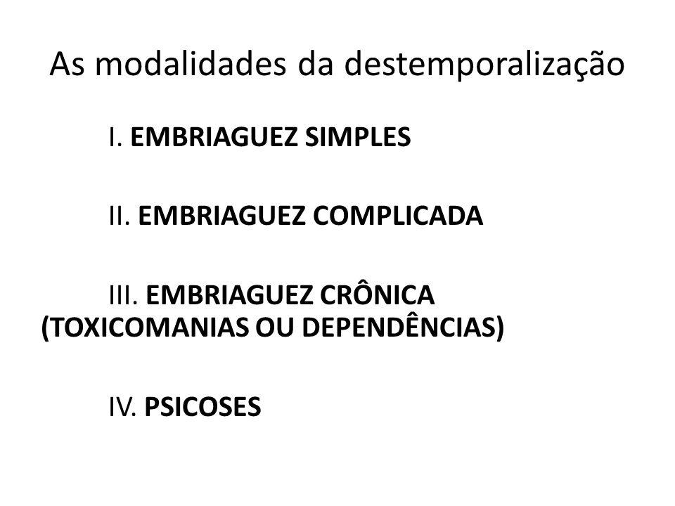 I. EMBRIAGUEZ SIMPLES II. EMBRIAGUEZ COMPLICADA III. EMBRIAGUEZ CRÔNICA (TOXICOMANIAS OU DEPENDÊNCIAS) IV. PSICOSES