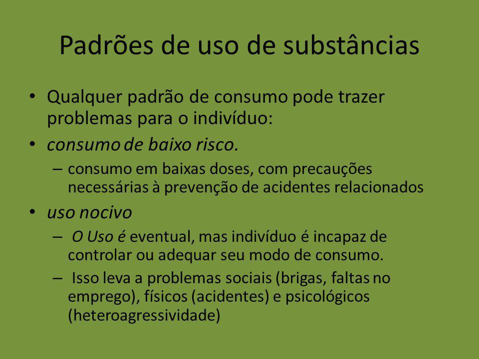 Padrões de uso de substâncias Qualquer padrão de consumo pode trazer problemas para o indivíduo: consumo de baixo risco. – consumo em baixas doses, co