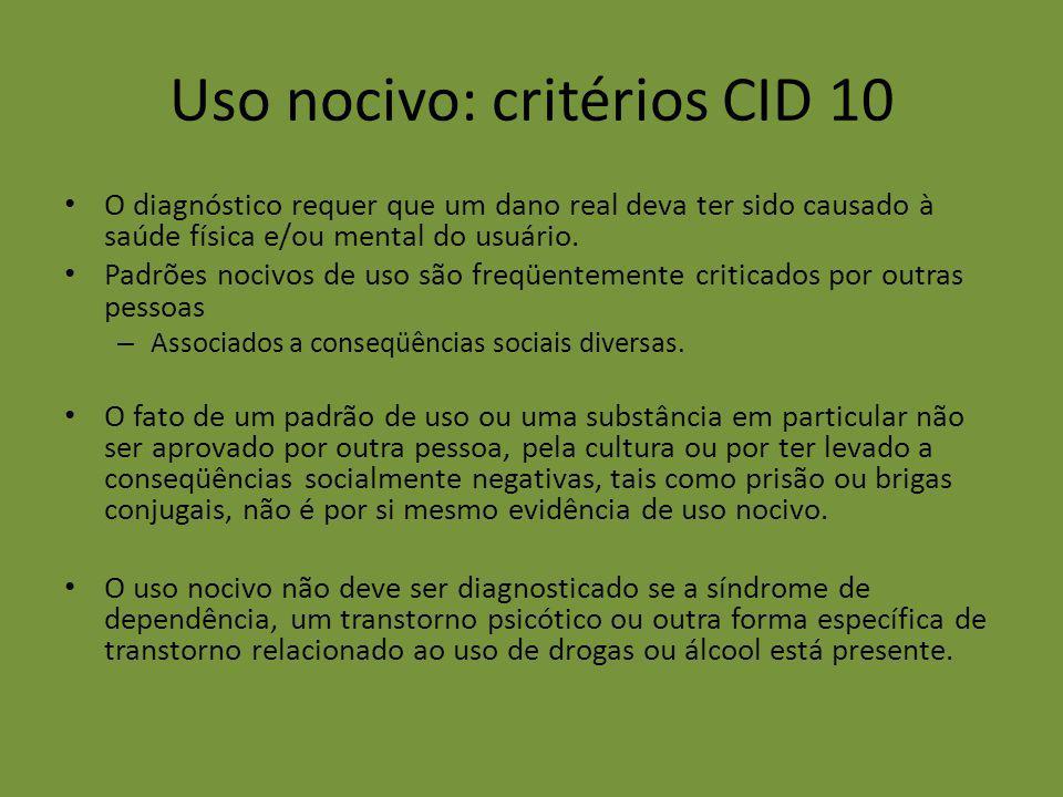 Uso nocivo: critérios CID 10 O diagnóstico requer que um dano real deva ter sido causado à saúde física e/ou mental do usuário. Padrões nocivos de uso