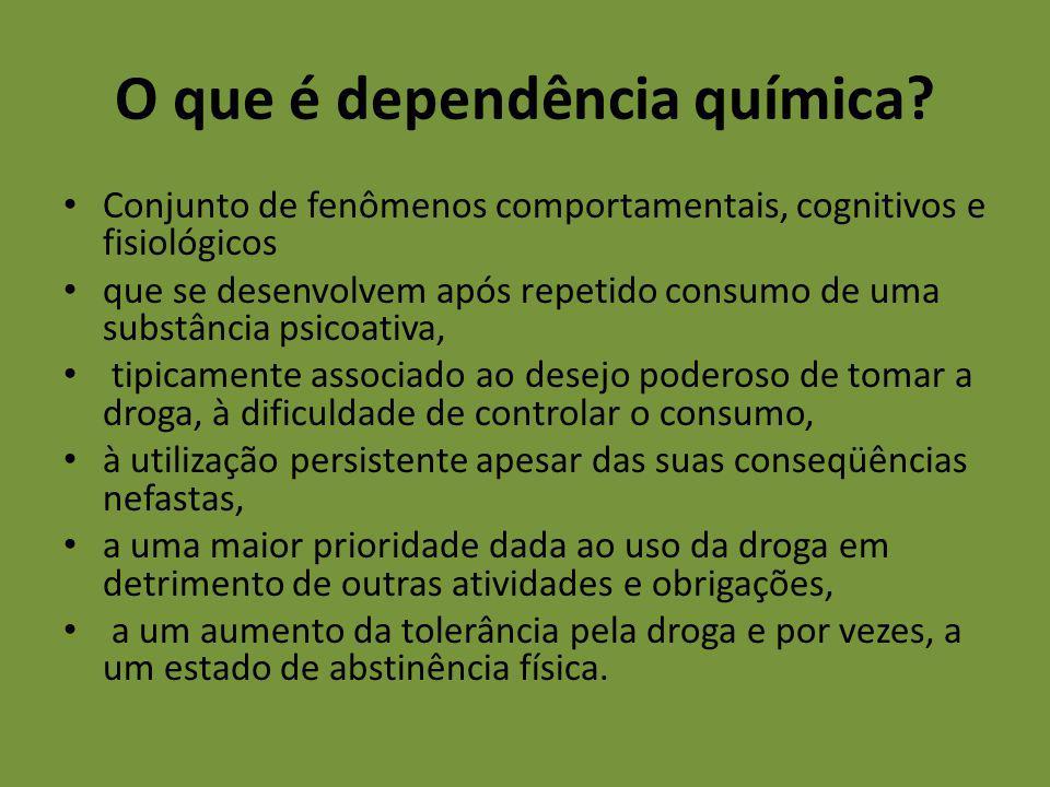O que é dependência química? Conjunto de fenômenos comportamentais, cognitivos e fisiológicos que se desenvolvem após repetido consumo de uma substânc
