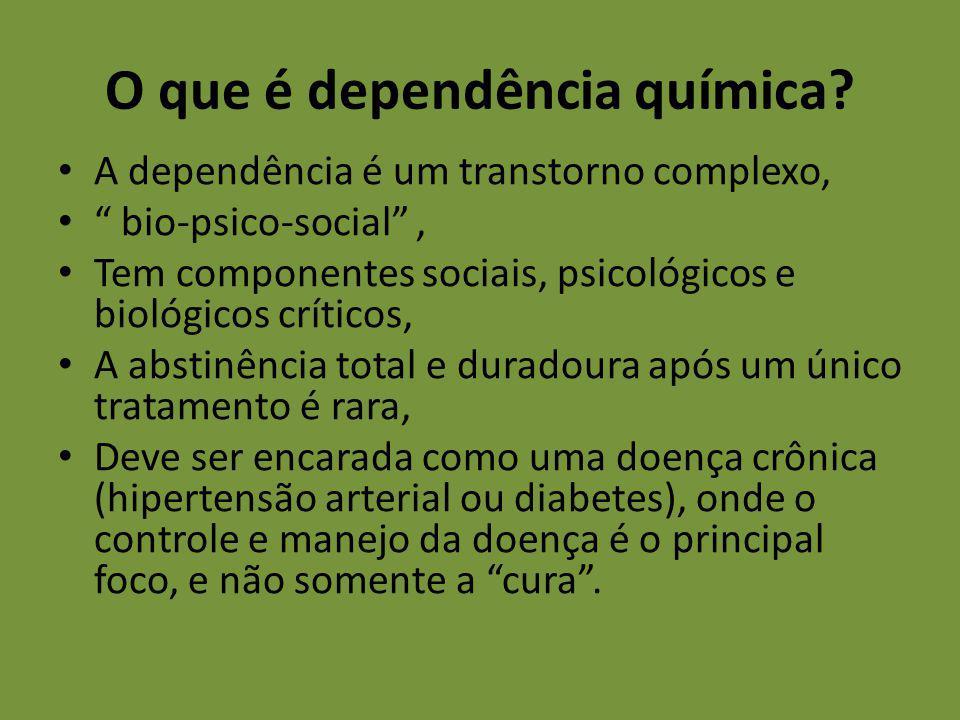 A dependência é um transtorno complexo, bio-psico-social, Tem componentes sociais, psicológicos e biológicos críticos, A abstinência total e duradoura