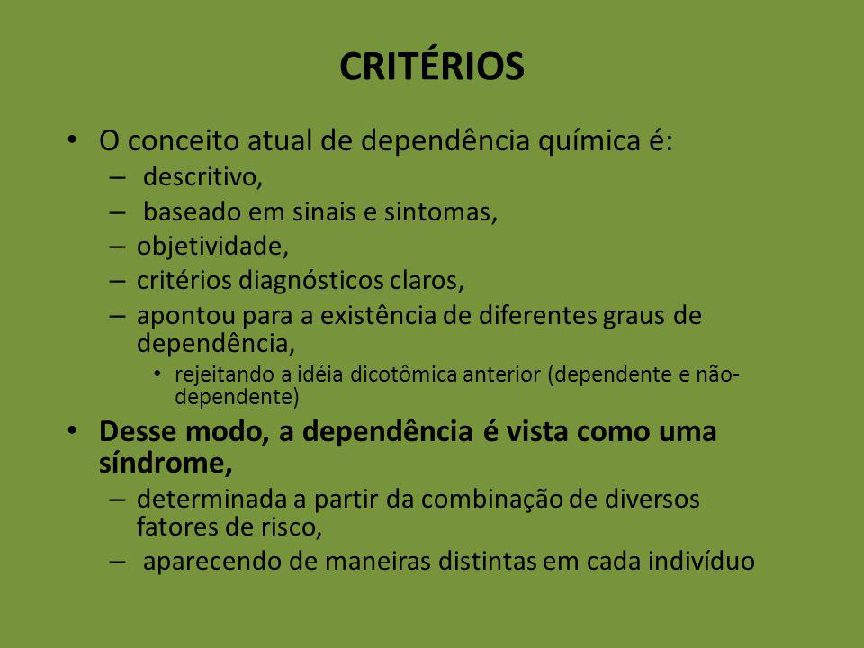 CRITÉRIOS O conceito atual de dependência química é: – descritivo, – baseado em sinais e sintomas, – objetividade, – critérios diagnósticos claros, –