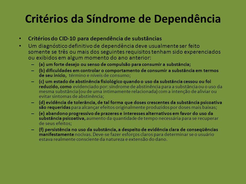 Critérios da Síndrome de Dependência Critérios do CID-10 para dependência de substâncias Um diagnóstico definitivo de dependência deve usualmente ser