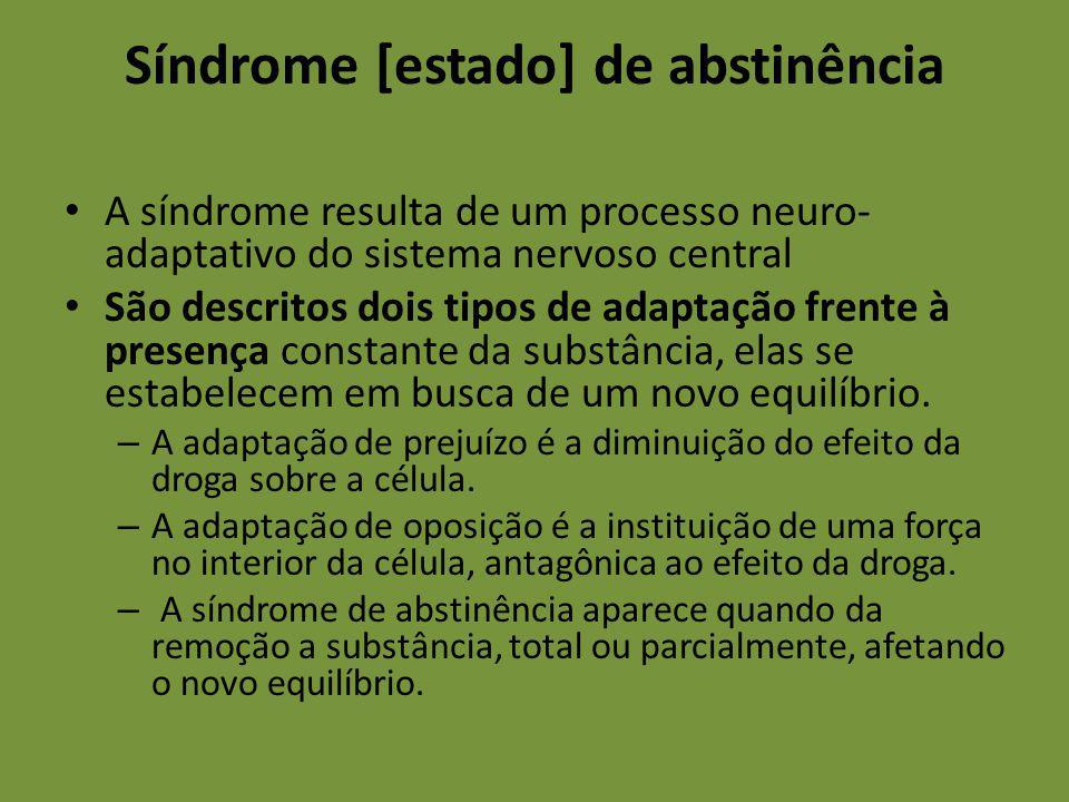 Síndrome [estado] de abstinência A síndrome resulta de um processo neuro- adaptativo do sistema nervoso central São descritos dois tipos de adaptação