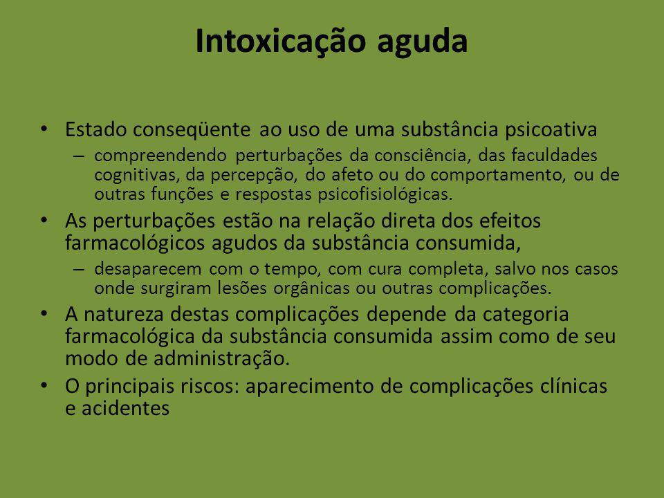 Intoxicação aguda Estado conseqüente ao uso de uma substância psicoativa – compreendendo perturbações da consciência, das faculdades cognitivas, da pe