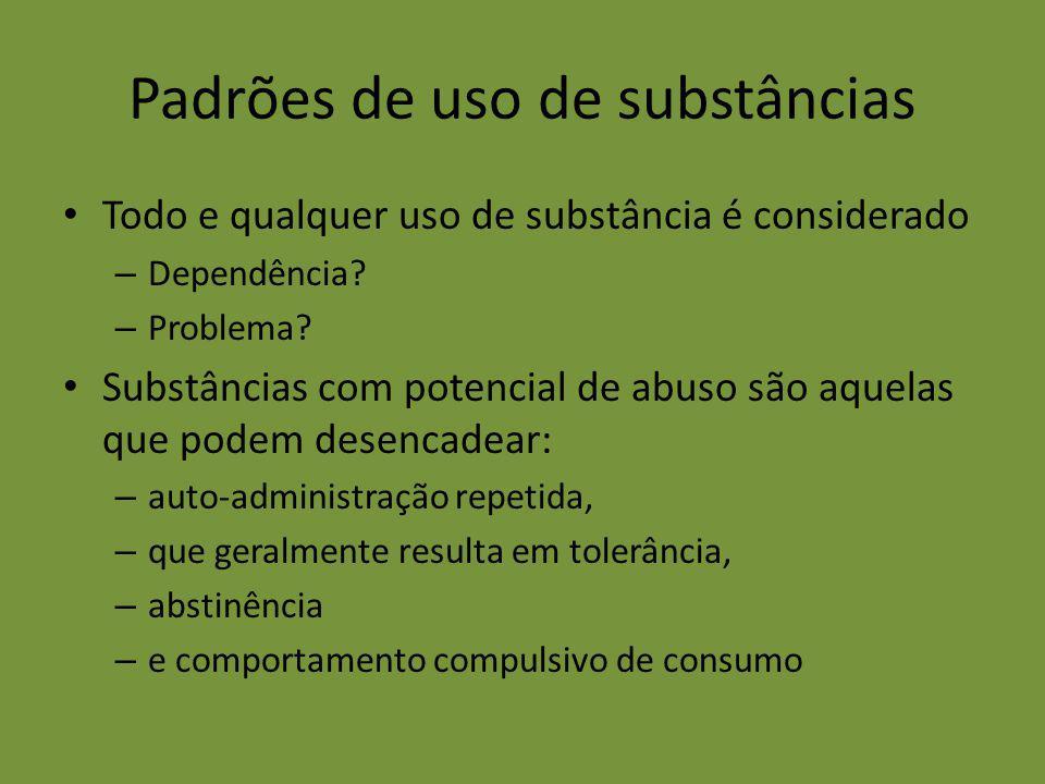 Padrões de uso de substâncias Todo e qualquer uso de substância é considerado – Dependência? – Problema? Substâncias com potencial de abuso são aquela
