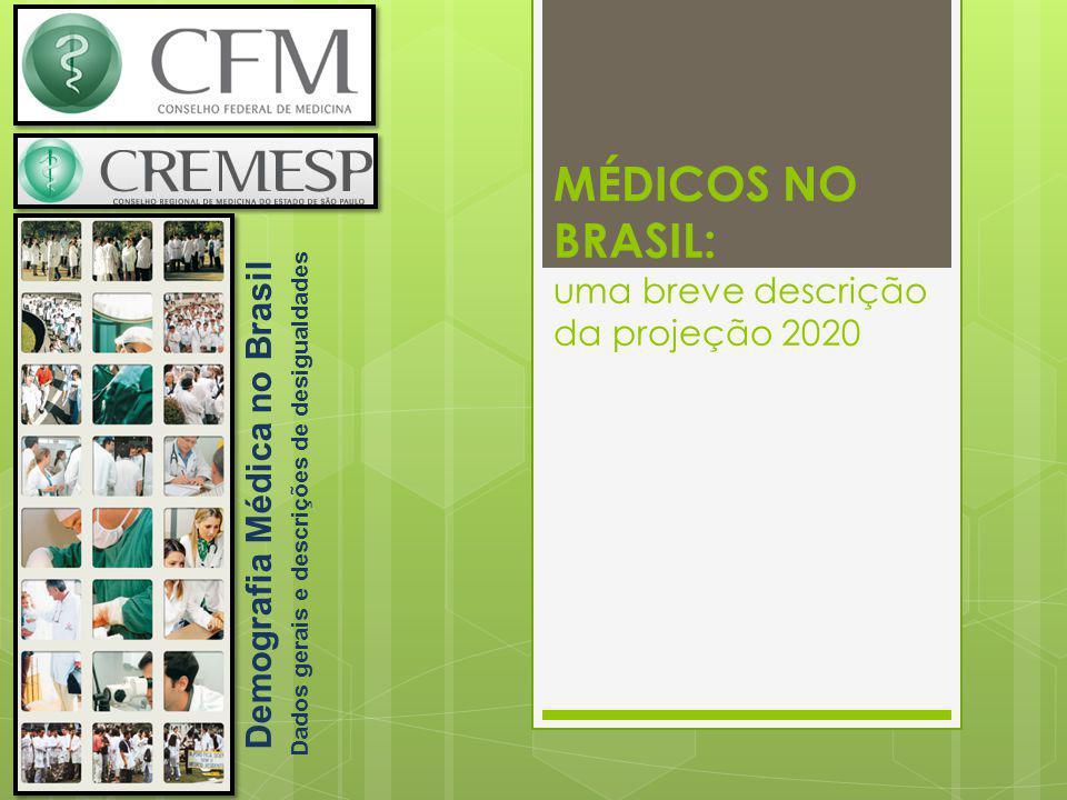 MÉDICOS NO BRASIL: uma breve descrição da projeção 2020 Demografia Médica no Brasil Dados gerais e descrições de desigualdades