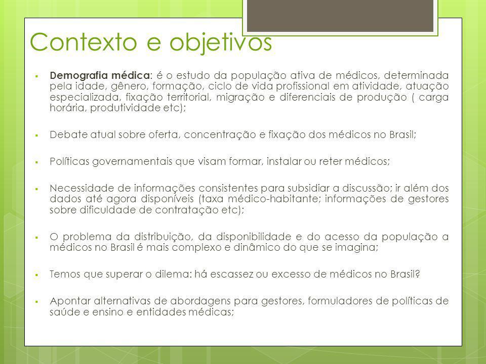 Contexto e objetivos Demografia médica : é o estudo da população ativa de médicos, determinada pela idade, gênero, formação, ciclo de vida profissiona