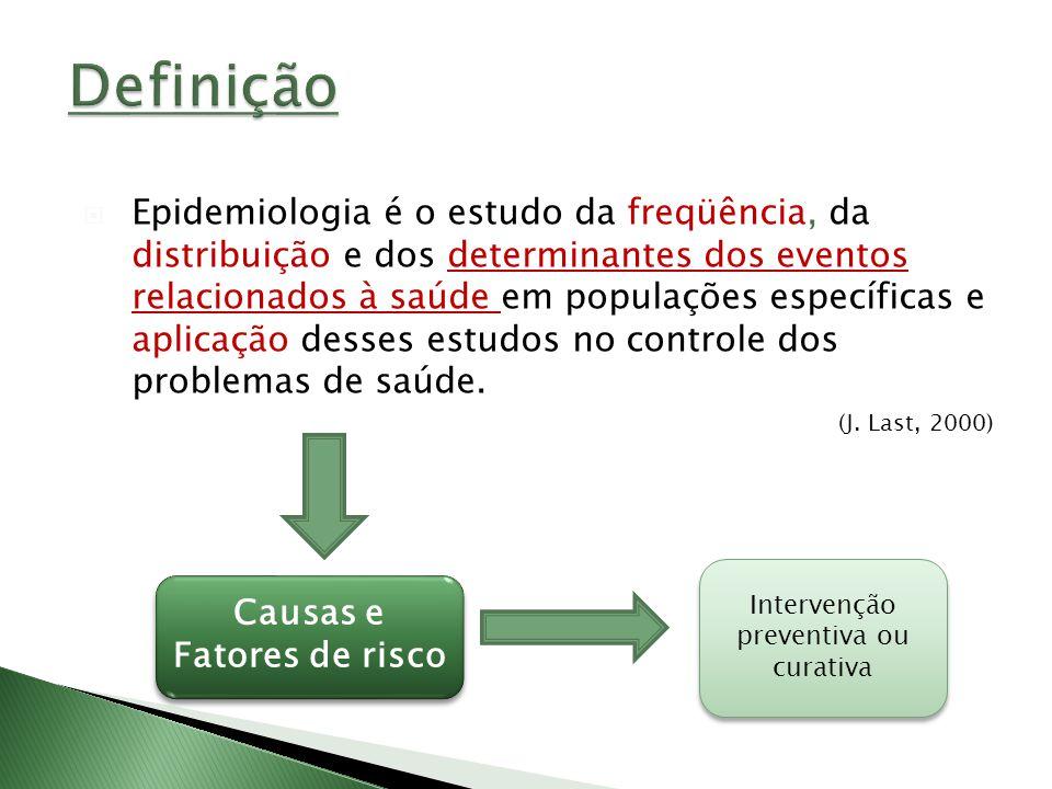 Epidemiologia é o estudo da freqüência, da distribuição e dos determinantes dos eventos relacionados à saúde em populações específicas e aplicação des