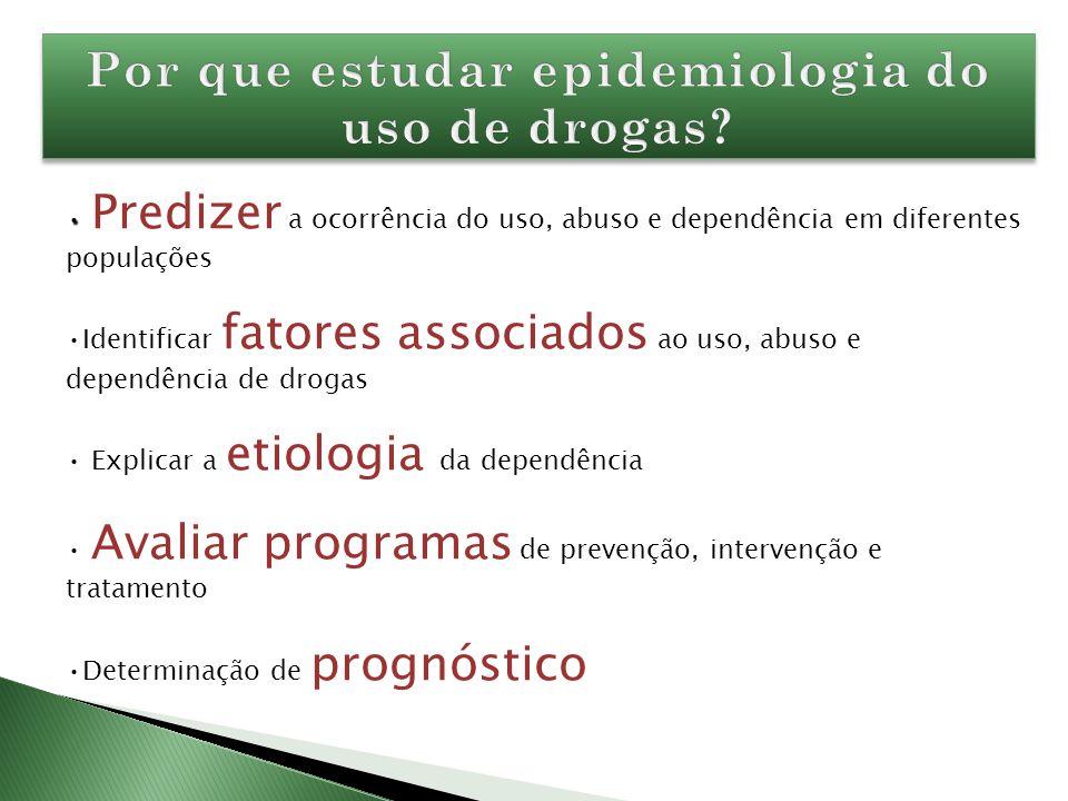 Predizer a ocorrência do uso, abuso e dependência em diferentes populações Identificar fatores associados ao uso, abuso e dependência de drogas Explic