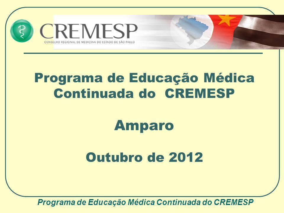 Programa de Educação Médica Continuada do CREMESP Amparo Outubro de 2012 Programa de Educação Médica Continuada do CREMESP