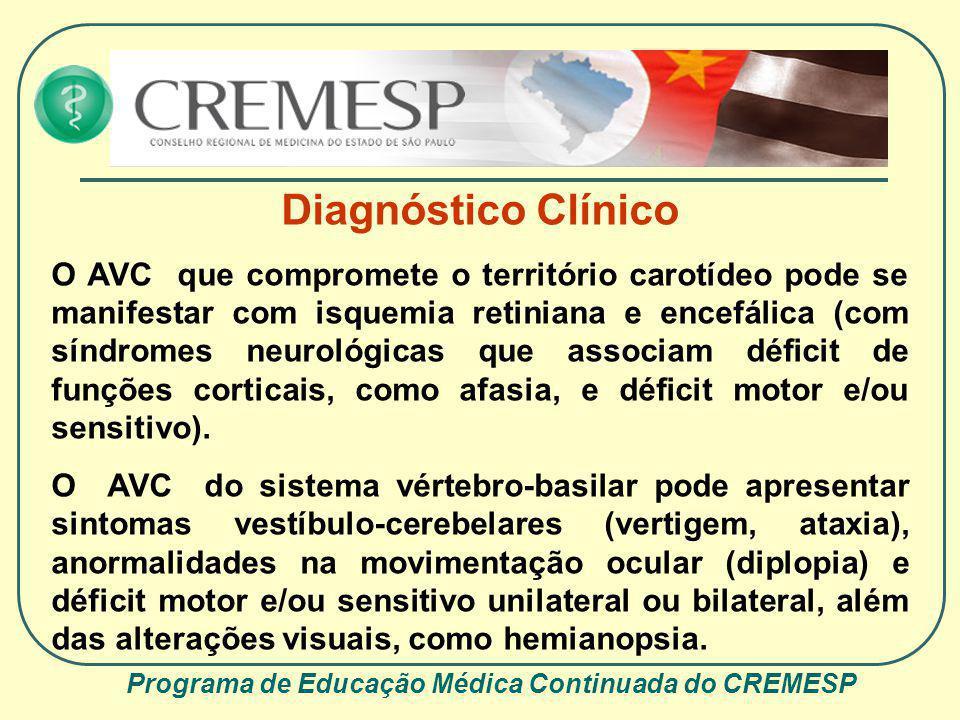 Programa de Educação Médica Continuada do CREMESP Diagnóstico Clínico O AVC que compromete o território carotídeo pode se manifestar com isquemia reti