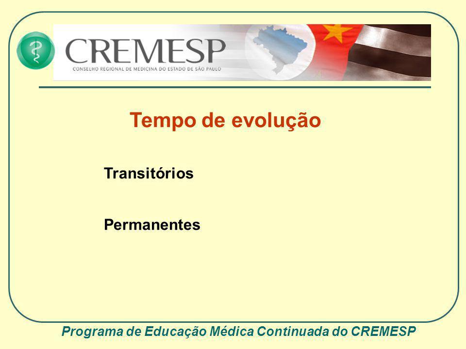 Programa de Educação Médica Continuada do CREMESP Tempo de evolução Transitórios Permanentes