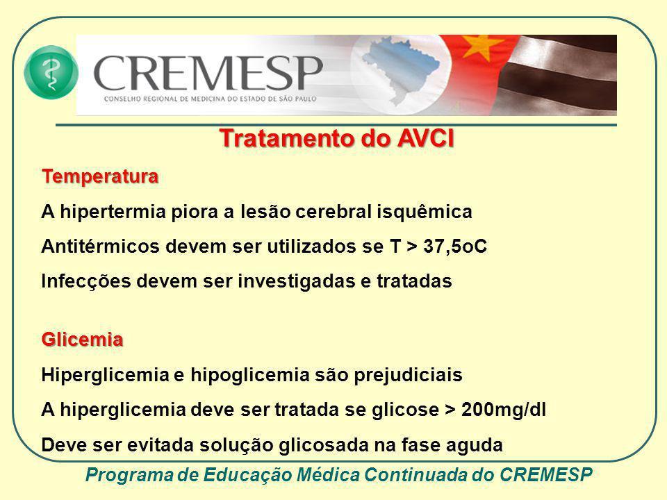 Programa de Educação Médica Continuada do CREMESP Tratamento do AVCI Temperatura A hipertermia piora a lesão cerebral isquêmica Antitérmicos devem ser