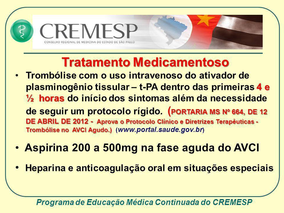 Programa de Educação Médica Continuada do CREMESP Tratamento Medicamentoso 4 e ½ horas PORTARIA MS Nº 664, DE 12 DE ABRIL DE 2012 - Aprova o Protocolo