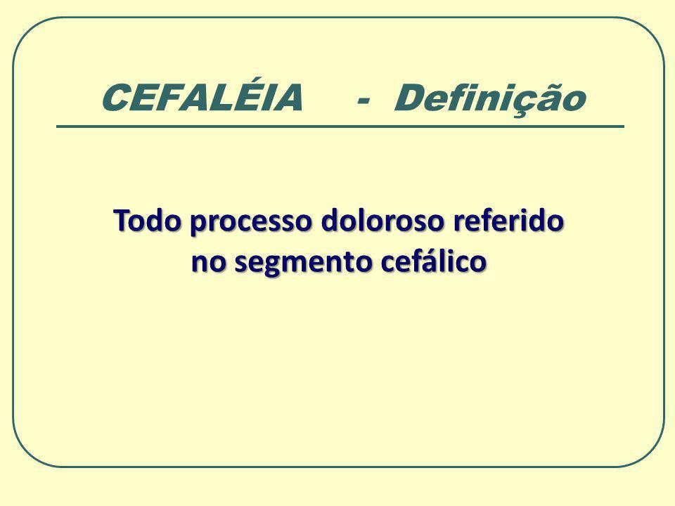 CEFALÉIA - Definição Todo processo doloroso referido no segmento cefálico