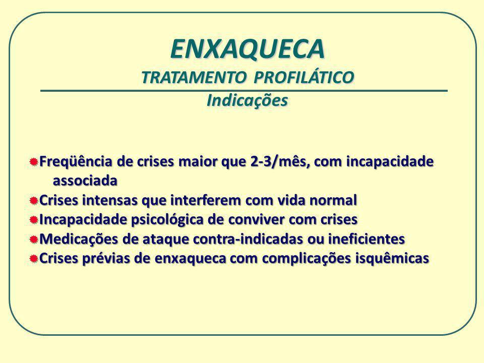 ENXAQUECA TRATAMENTO PROFILÁTICO Indicações Freqüência de crises maior que 2-3/mês, com incapacidade Freqüência de crises maior que 2-3/mês, com incap