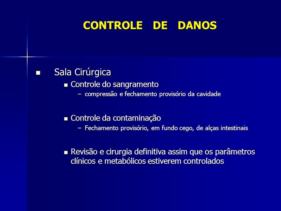 Sala Cirúrgica Sala Cirúrgica Controle do sangramento Controle do sangramento –compressão e fechamento provisório da cavidade Controle da contaminação