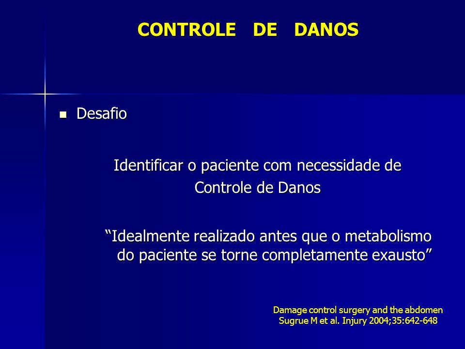 Desafio Desafio Identificar o paciente com necessidade de Controle de Danos Idealmente realizado antes que o metabolismo do paciente se torne completa