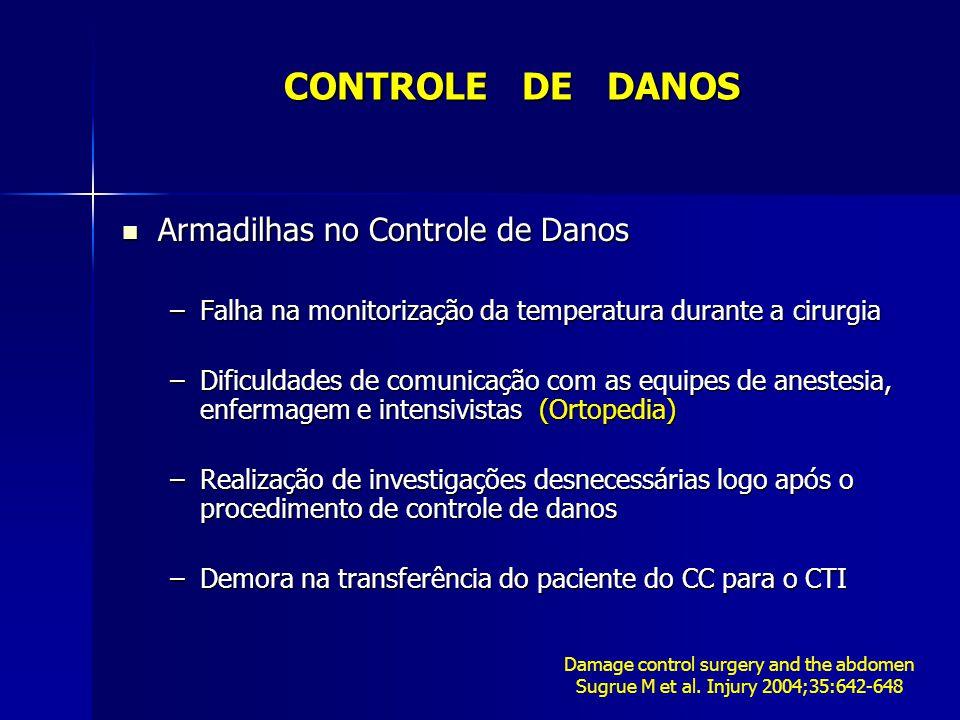Armadilhas no Controle de Danos Armadilhas no Controle de Danos –Falha na monitorização da temperatura durante a cirurgia –Dificuldades de comunicação