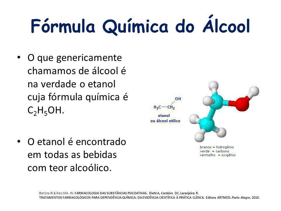 Fórmula Química do Álcool O que genericamente chamamos de álcool é na verdade o etanol cuja fórmula química é C 2 H 5 OH. O etanol é encontrado em tod