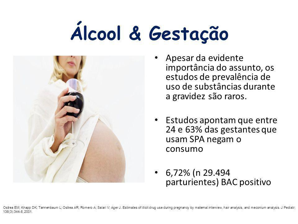 Álcool & Gestação Apesar da evidente importância do assunto, os estudos de prevalência de uso de substâncias durante a gravidez são raros. Estudos apo