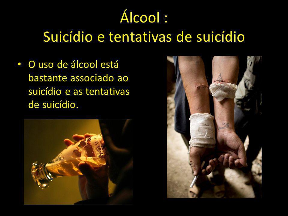 Álcool : Suicídio e tentativas de suicídio O uso de álcool está bastante associado ao suicídio e as tentativas de suicídio.