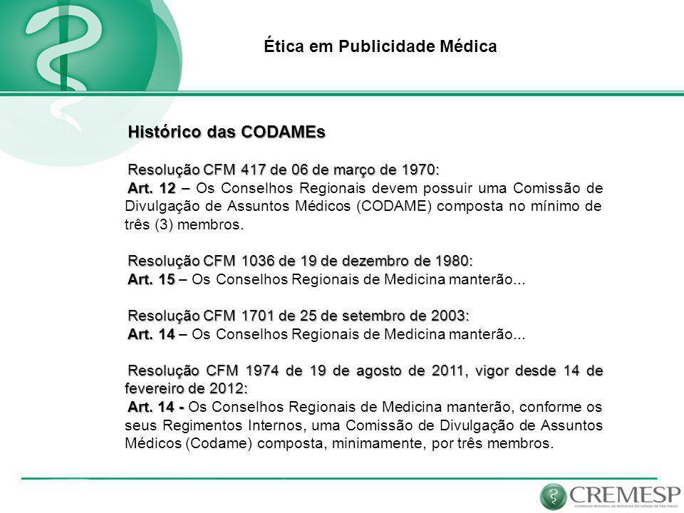 Ética em Publicidade Médica Resolução CFM 1974/11 Art.