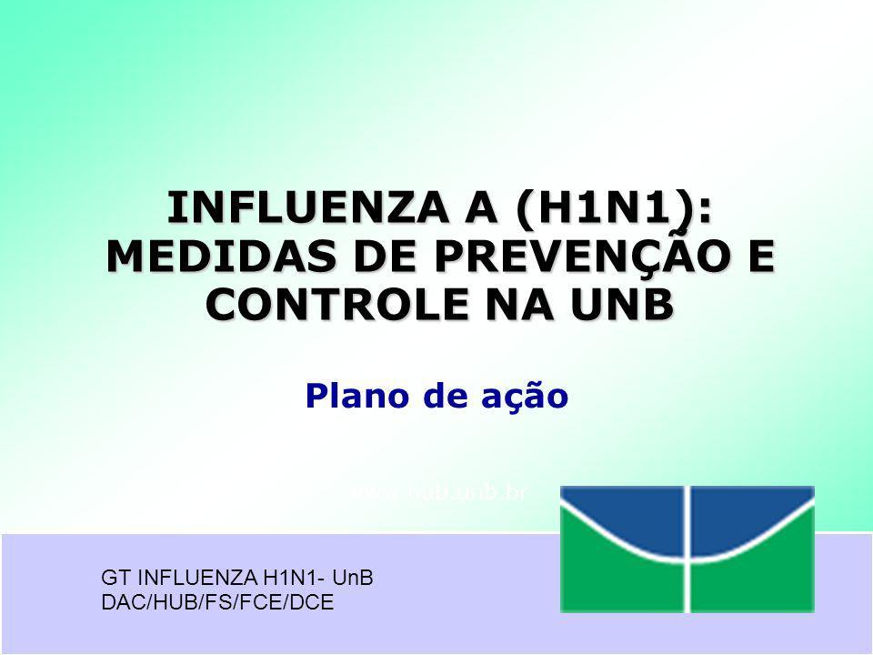 www.hub.unb.br INFLUENZA A (H1N1): MEDIDAS DE PREVENÇÃO E CONTROLE NA UNB GT INFLUENZA H1N1- UnB DAC/HUB/FS/FCE/DCE Plano de ação