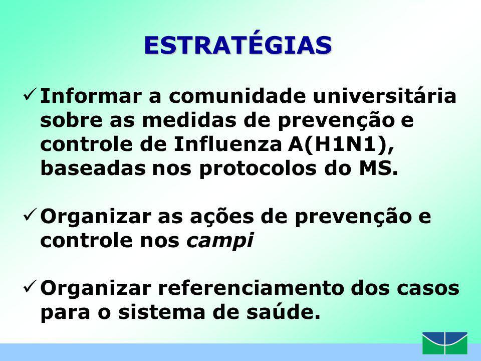 Informar a comunidade universitária sobre as medidas de prevenção e controle de Influenza A(H1N1), baseadas nos protocolos do MS.