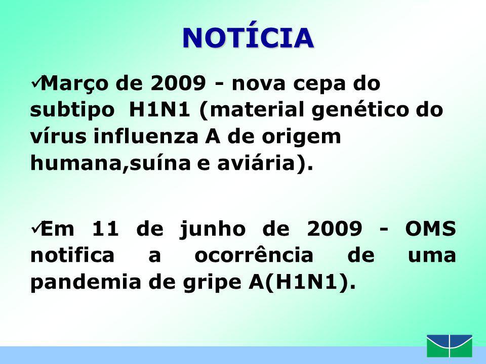 Março de 2009 - nova cepa do subtipo H1N1 (material genético do vírus influenza A de origem humana,suína e aviária).