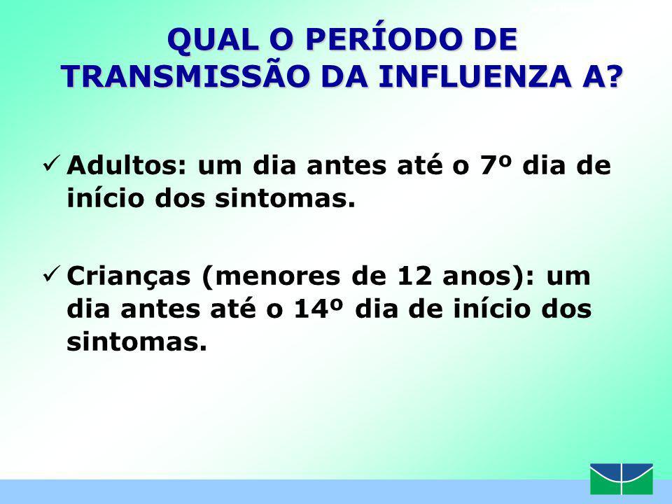 www.themegallery.com QUAL O PERÍODO DE TRANSMISSÃO DA INFLUENZA A.