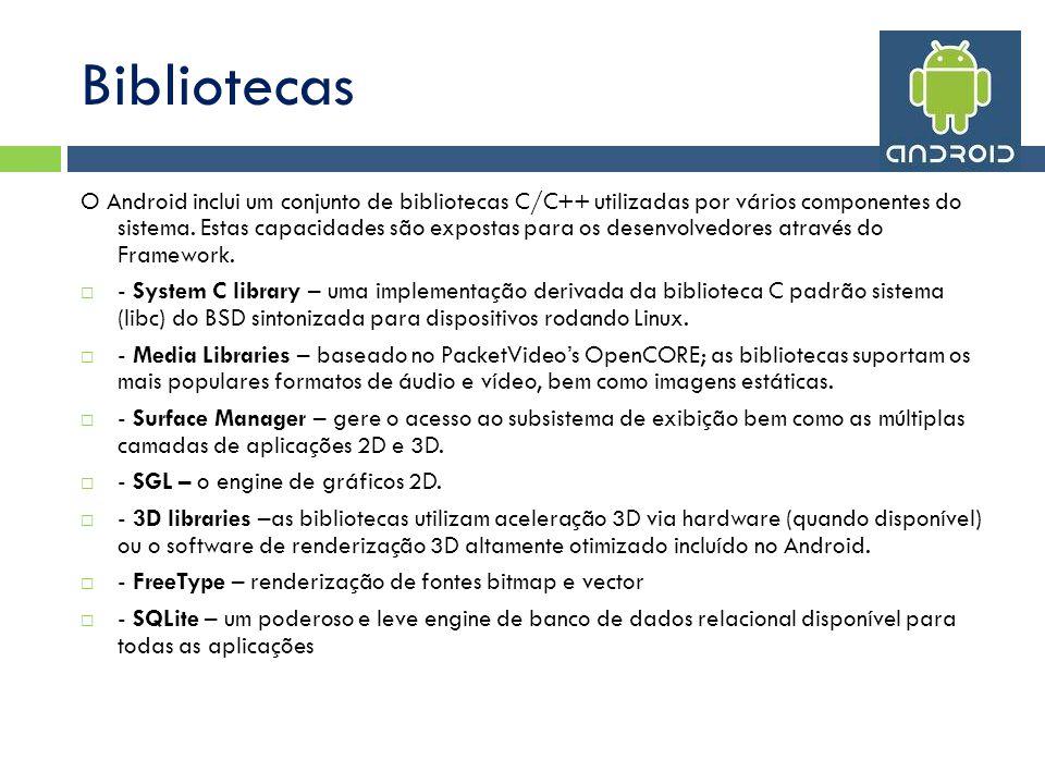 Bibliotecas O Android inclui um conjunto de bibliotecas C/C++ utilizadas por vários componentes do sistema.