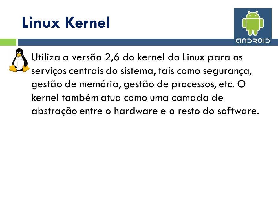 Linux Kernel Utiliza a versão 2,6 do kernel do Linux para os serviços centrais do sistema, tais como segurança, gestão de memória, gestão de processos, etc.