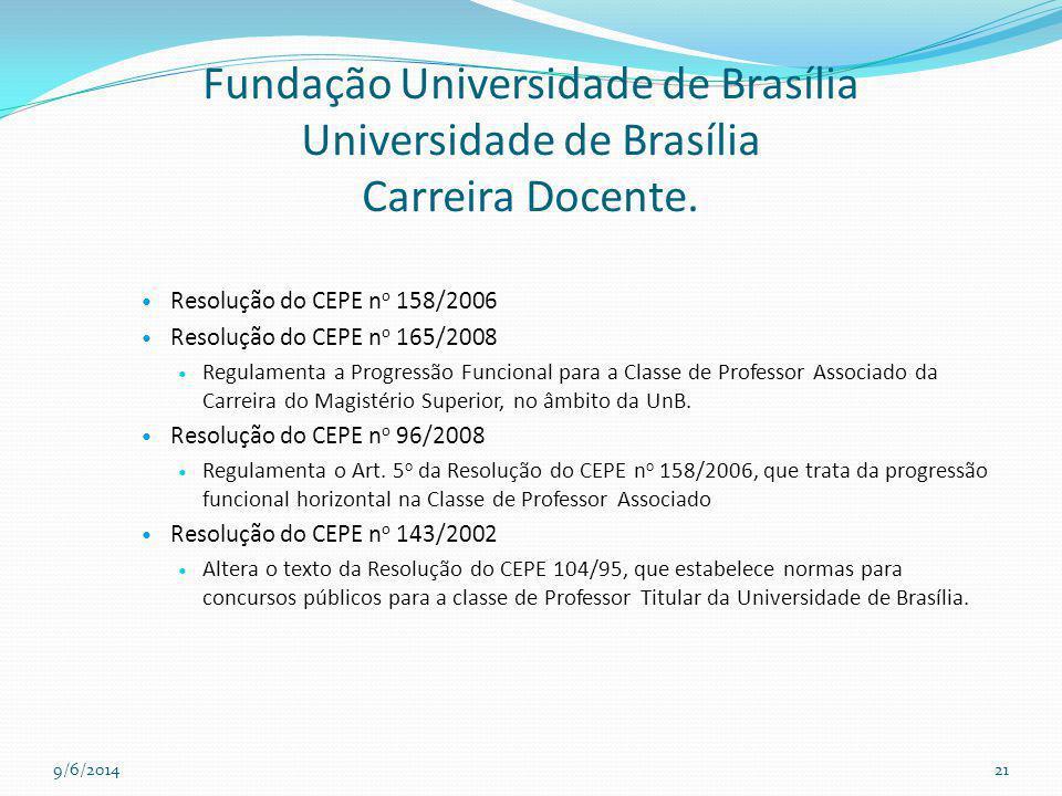 Fundação Universidade de Brasília Universidade de Brasília Carreira Docente. Resolução do CEPE n o 158/2006 Resolução do CEPE n o 165/2008 Regulamenta