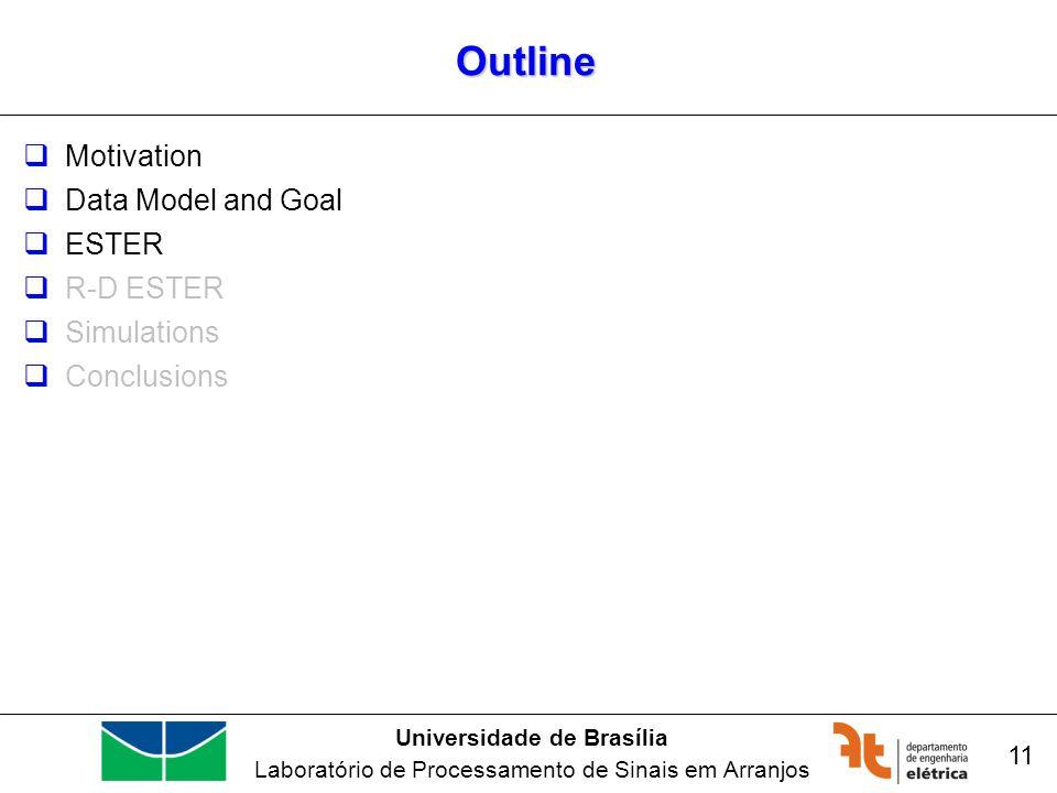 Universidade de Brasília Laboratório de Processamento de Sinais em Arranjos Outline Motivation Data Model and Goal ESTER R-D ESTER Simulations Conclusions 11