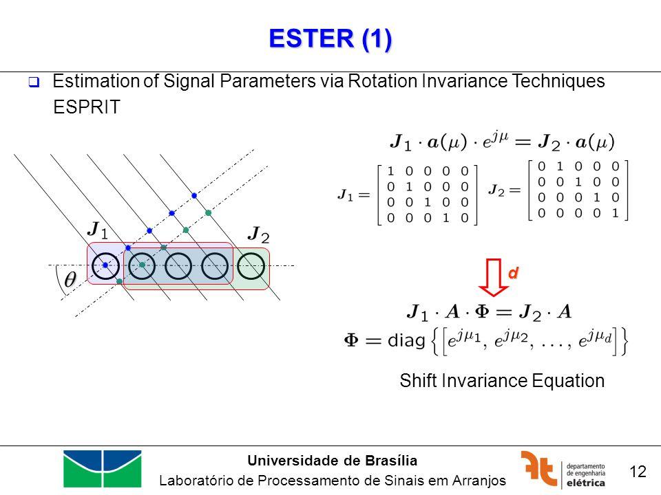 Universidade de Brasília Laboratório de Processamento de Sinais em Arranjos ESTER (1) Estimation of Signal Parameters via Rotation Invariance Techniques ESPRIT 12 d Shift Invariance Equation