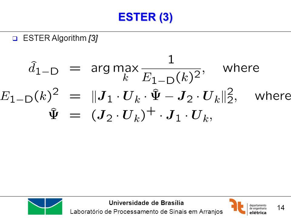 Universidade de Brasília Laboratório de Processamento de Sinais em Arranjos ESTER (3) [3] ESTER Algorithm [3] 14