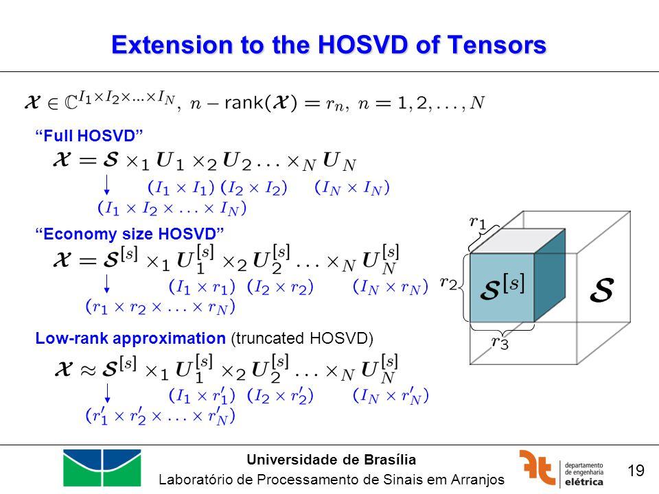 Universidade de Brasília Laboratório de Processamento de Sinais em Arranjos 19 Extension to the HOSVD of Tensors Full HOSVD Low-rank approximation (truncated HOSVD) Economy size HOSVD